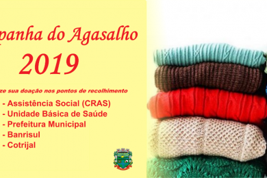 Assistência Social e CRAS Mãos Amigas estão recolhendo donativos para a Campanha do Agasalho 2019