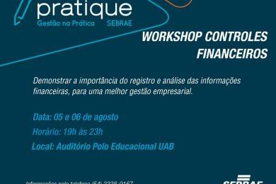 """Inscrições abertas para o workshop """"Controles Financeiros"""" oferecido pelo Sebrae-RS"""