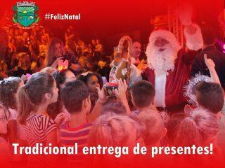 Com a presença do Papai Noel, entrega de presentes para crianças com idade até 10 anos será realizada em pontos fixos