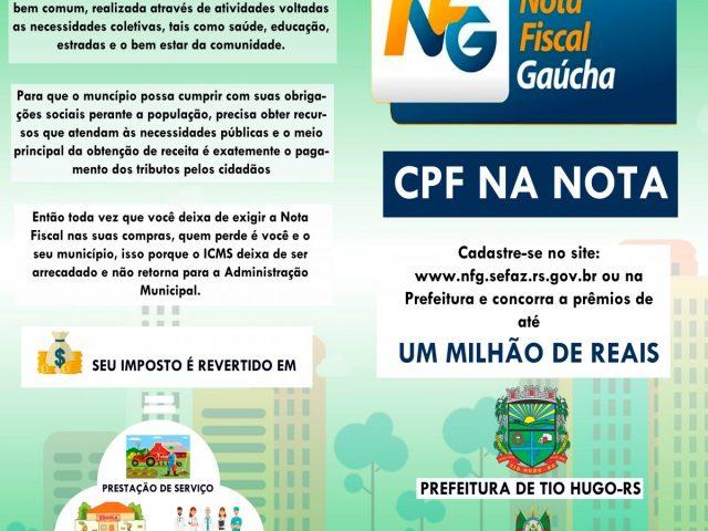 Nota Fiscal Gaúcha: Município de Tio Hugo irá sortear prêmios de R$ 250,00, R$ 150,00 e R$ 100,00 todos os meses