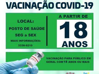 Tio-huguenses com idade a partir de 18 anos poderão receber a vacina contra a Covid-19